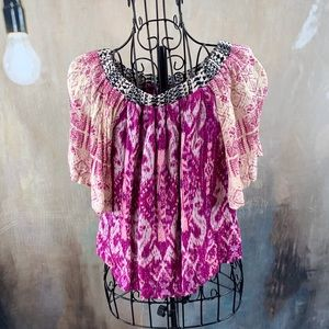 VGUC Bowie James Boho Chic Flutter Sleeve Top